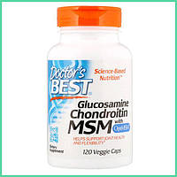 Doctor's Best, Glucosamine Chondroitin MSM для суставов и связок, натуральный хондропротектор, 120 капсул