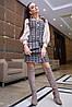 Платье-сарафан 12-1111 - бело-кофейная клетка: S  М L XL