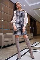 Платье-сарафан 12-1111 - бело-кофейная клетка: S  М L XL, фото 1