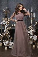Платье вечернее макси с гипюровыми вставками, длинный рукав