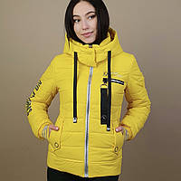 Желтая женская куртка (42-48) демисезон