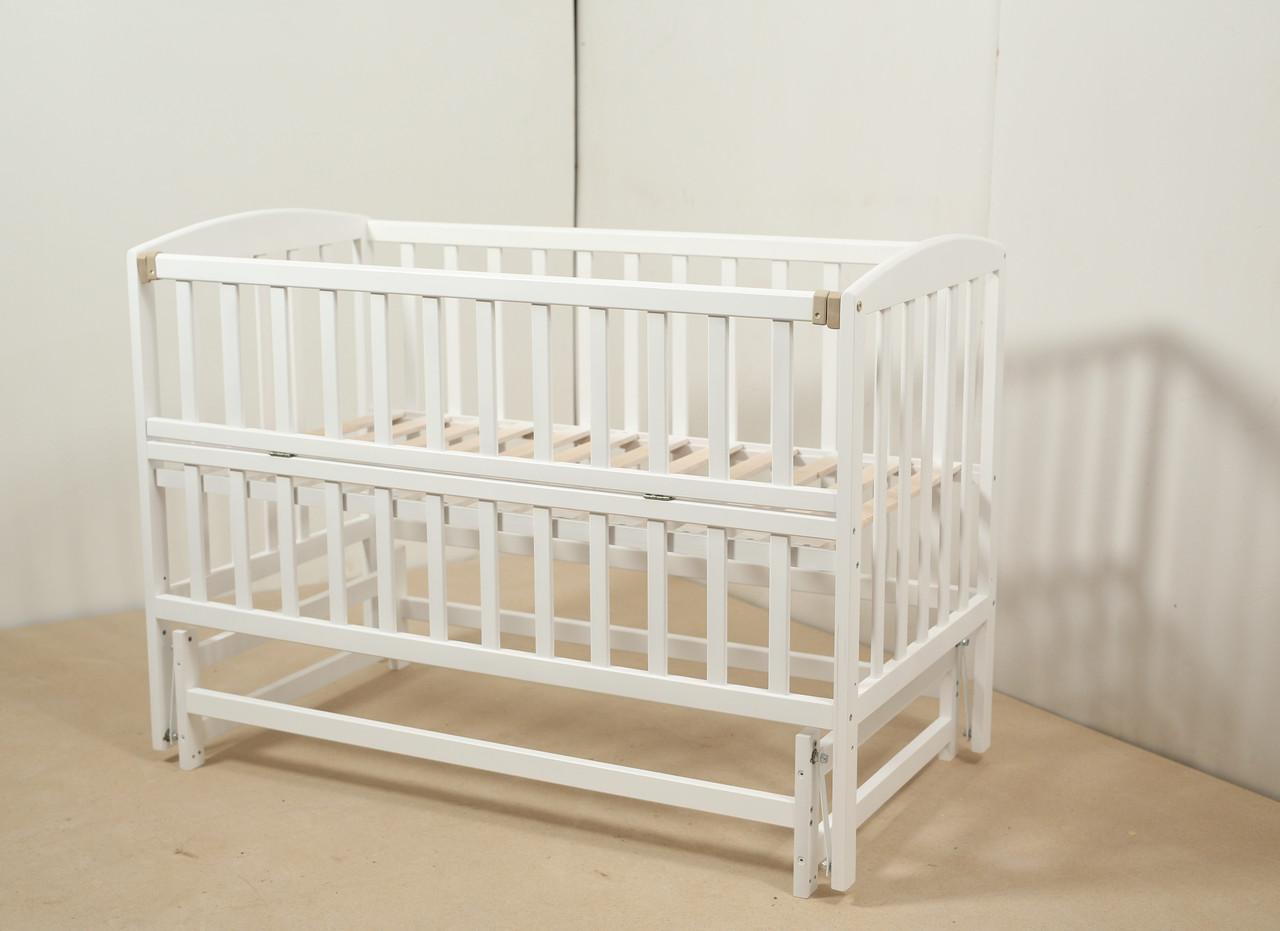Кровать «VALERI» на подшипниках с откидной боковиной (600 * 1200) (Белый)