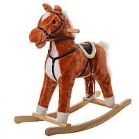 Мягкая детские качалки лошадь (функции: звук ржания и цокота копыт, шевелится рот) MP 0082 (Рыжий)