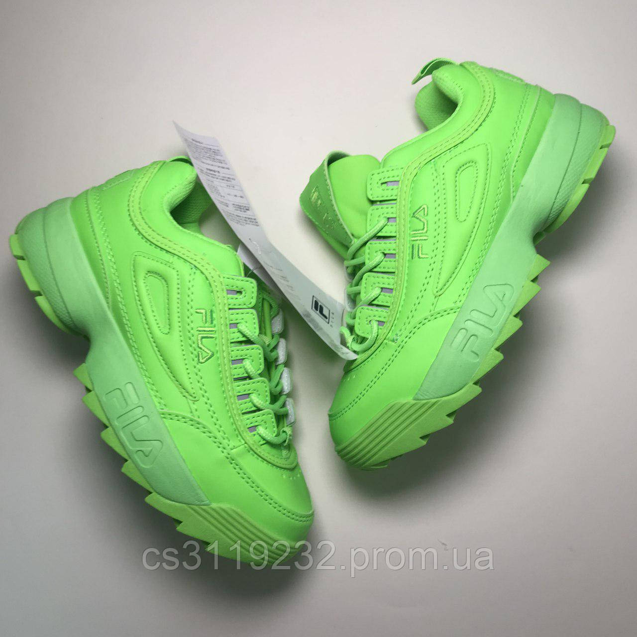 Женские кроссовки Fila Disruptor 2 Green Neon (зелёный неон)
