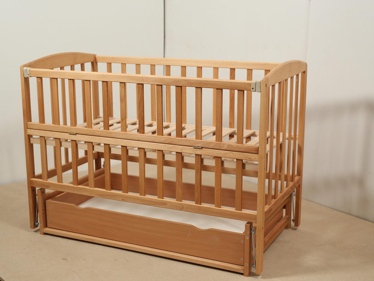 Кровать «VALERI» на подшипниках с откидной боковиной с ящиком (600 * 1200) (Бук)