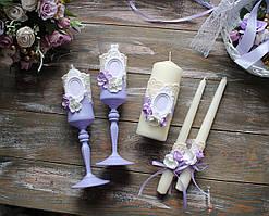Весільний набір аксесуарів келихи і свічки