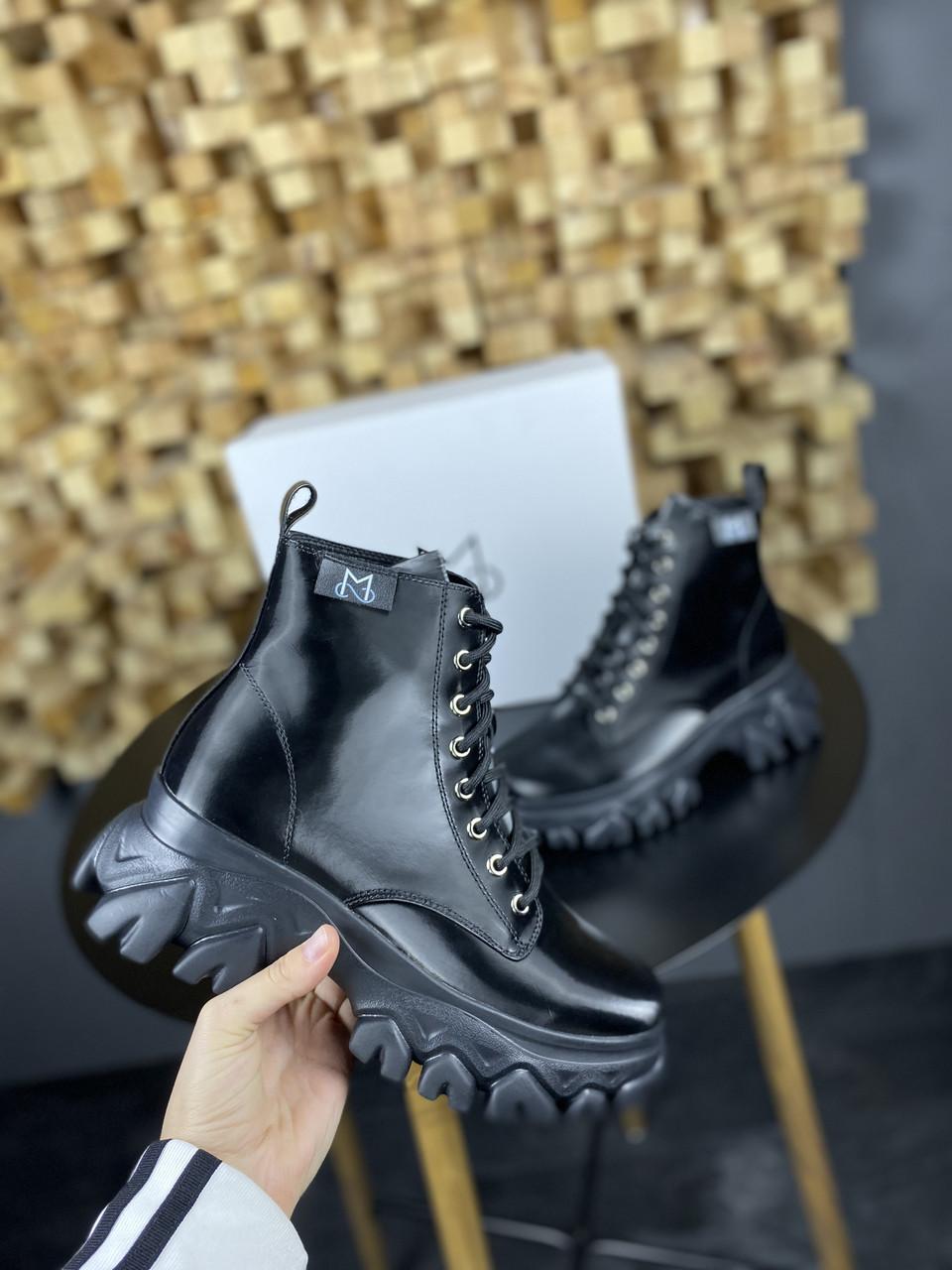 Женские Ботинки MS Boots Full Black МЕХ