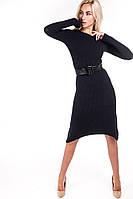 Женское осенне-зимнее вязаное платье до колен темно-синего цвета (размеры S-M)