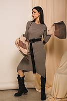 Женское осенне-зимнее вязаное платье до колен светло-серого цвета (размеры S-M)