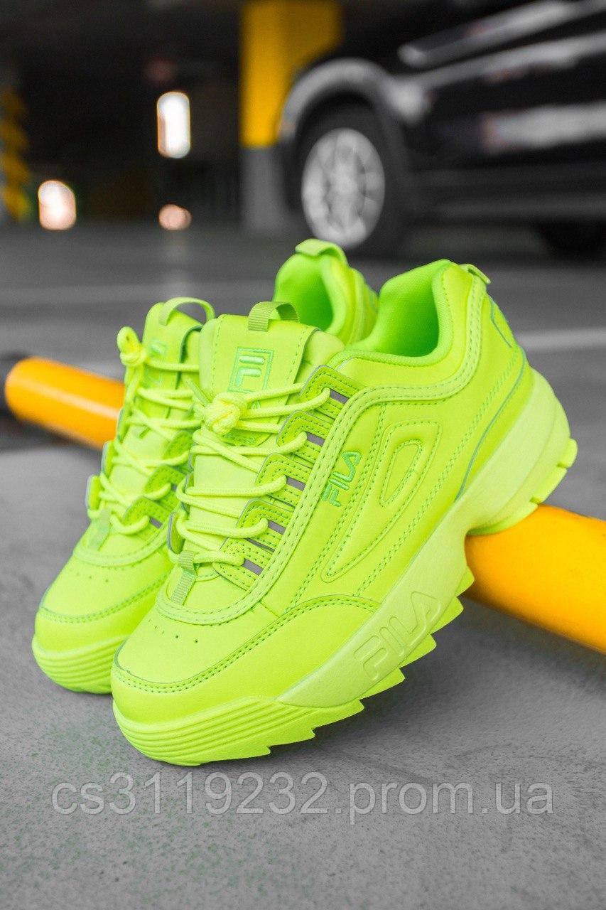 Женские кроссовки Fila Disruptor 2 Yellow Neon (желтый неон)