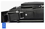 Чоловіча сумка через плече Натуральна шкіра Барсетка Чоловіча шкіряна сумка для документів планшет Чорна, фото 9