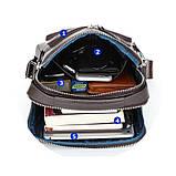 Чоловіча сумка через плече Натуральна шкіра Барсетка Чоловіча шкіряна сумка для документів планшет Чорна, фото 5