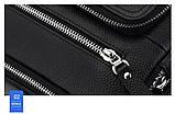 Чоловіча сумка через плече Натуральна шкіра Барсетка Чоловіча шкіряна сумка для документів планшет Чорна, фото 10