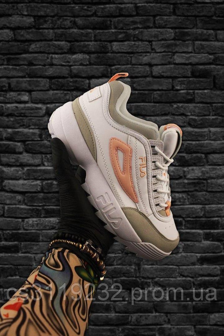 Женские кроссовки Fila Disruptor 2 White Gray Orange (белый/серый/оранжевый)