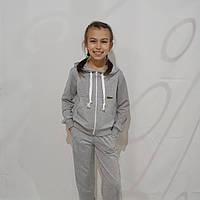 Детский спортивный костюм двунитка для девочки, серый (рост 134-158)