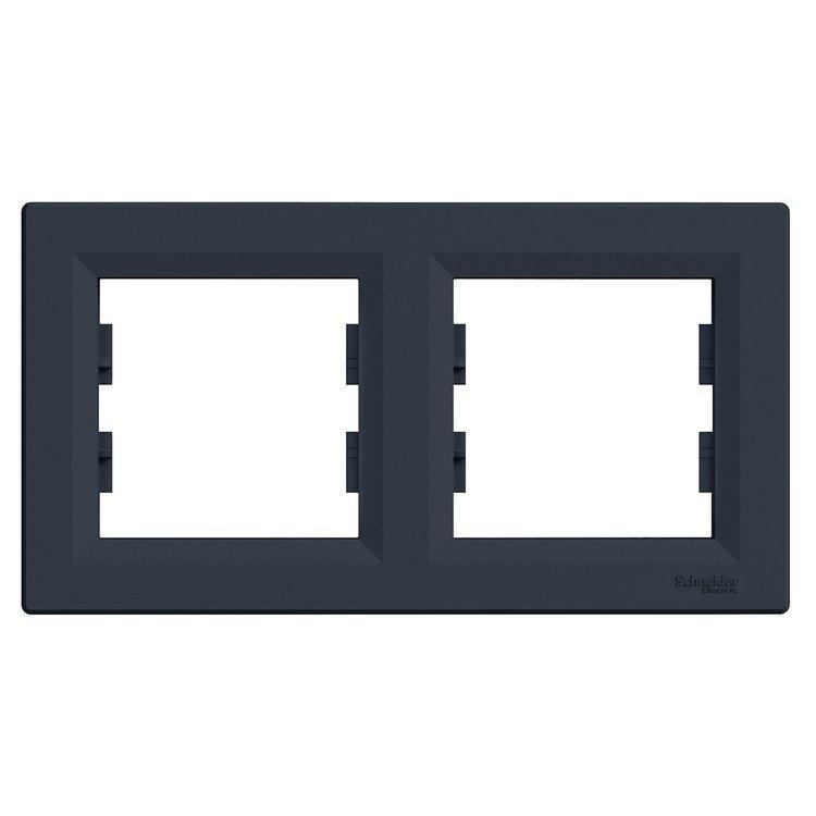 Рамка Schneider-Electric Asfora Plus 2-постовая горизонтальная антрацит (EPH5800271)