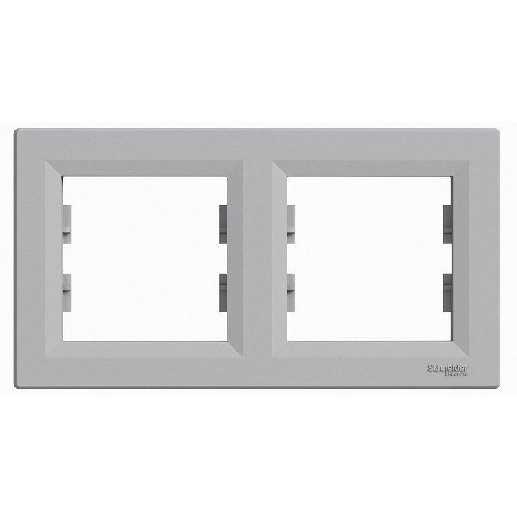 Рамка Schneider-Electric Asfora Plus 2-постовая горизонтальная алюминий (EPH5800261)