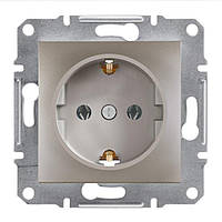Розетка Schneider-Electric Asfora Plus с заземл. и з/шторками бронза (EPH2900269)
