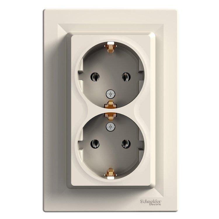 Розетка Schneider-Electric Asfora двойная с заземлением кремовый (EPH9900123)