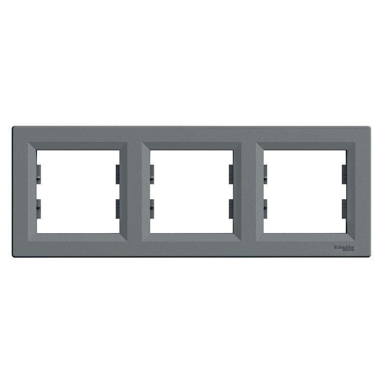 Рамка Schneider-Electric Asfora Plus 3-постовая горизонтальная сталь (EPH5800362)