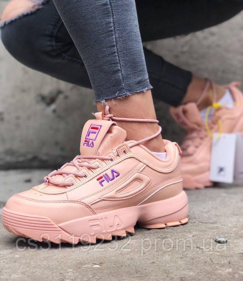 Жіночі кросівки Fila Disruptor 2 Full Pink Violet logo (рожеві)
