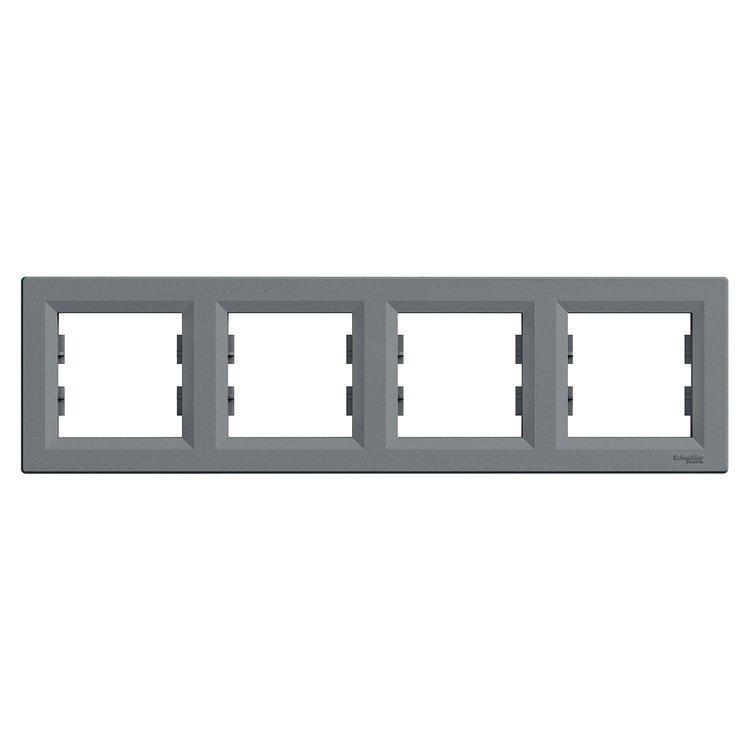 Рамка Schneider-Electric Asfora Plus 4-постовая горизонтальная сталь (EPH5800462)