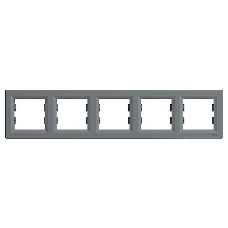 Рамка Schneider-Electric Asfora Plus 5-постовая горизонтальная сталь (EPH5800562)