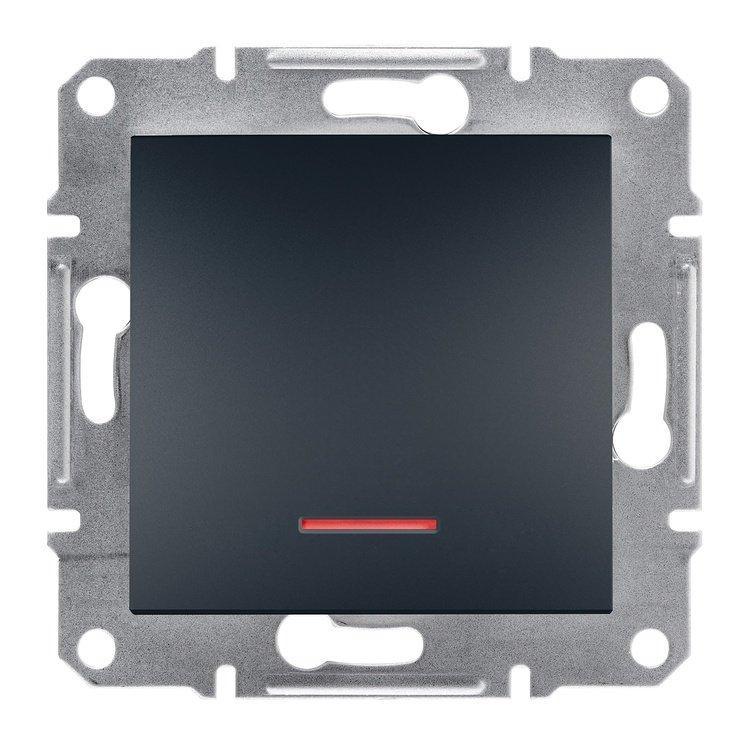 Выключатель Schneider-Electric Asfora Plus 1-клавишный с подсветкой антрацит (EPH1400171)