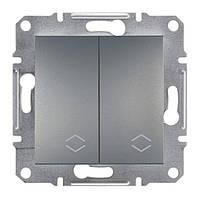 Переключатель Schneider-Electric Asfora Plus 2-клавишный проходной сталь (EPH0600162)