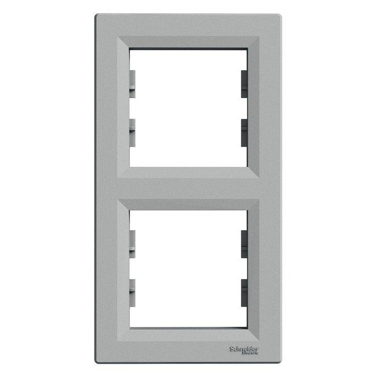Рамка Schneider-Electric Asfora Plus 2-постовая вертикальная алюминий (EPH5810261)