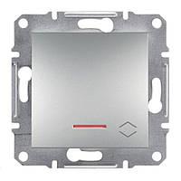 Переключатель Schneider-Electric Asfora Plus 1-клавишный проходной с подсветкой алюминий (EPH1500161)