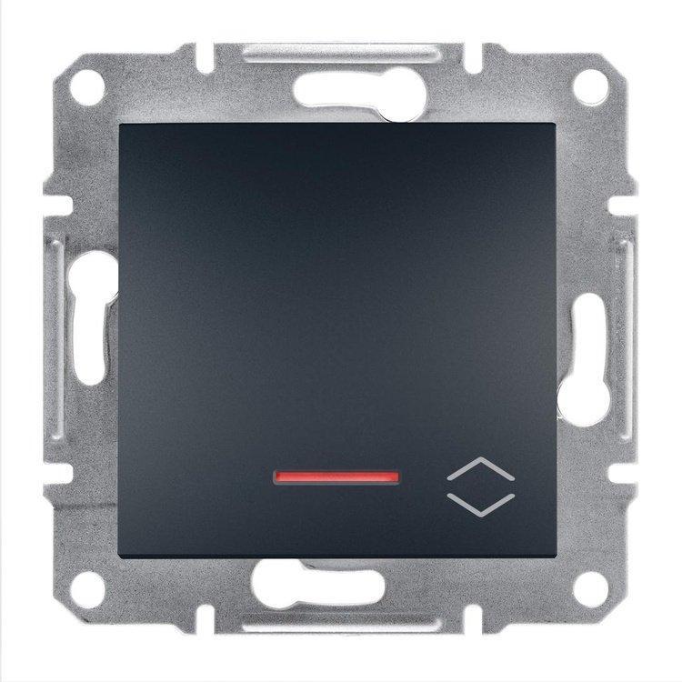 Переключатель Schneider-Electric Asfora Plus 1-клавишный проходной с подсветкой антрацит (EPH1500171)