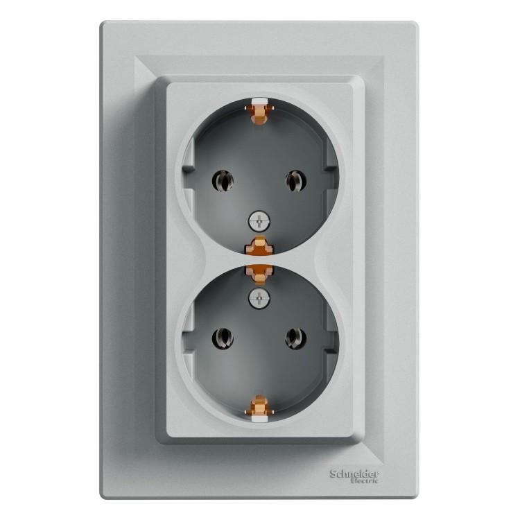 Розетка Schneider-Electric Asfora Plus двойная с заземлением алюминий (EPH9900161)