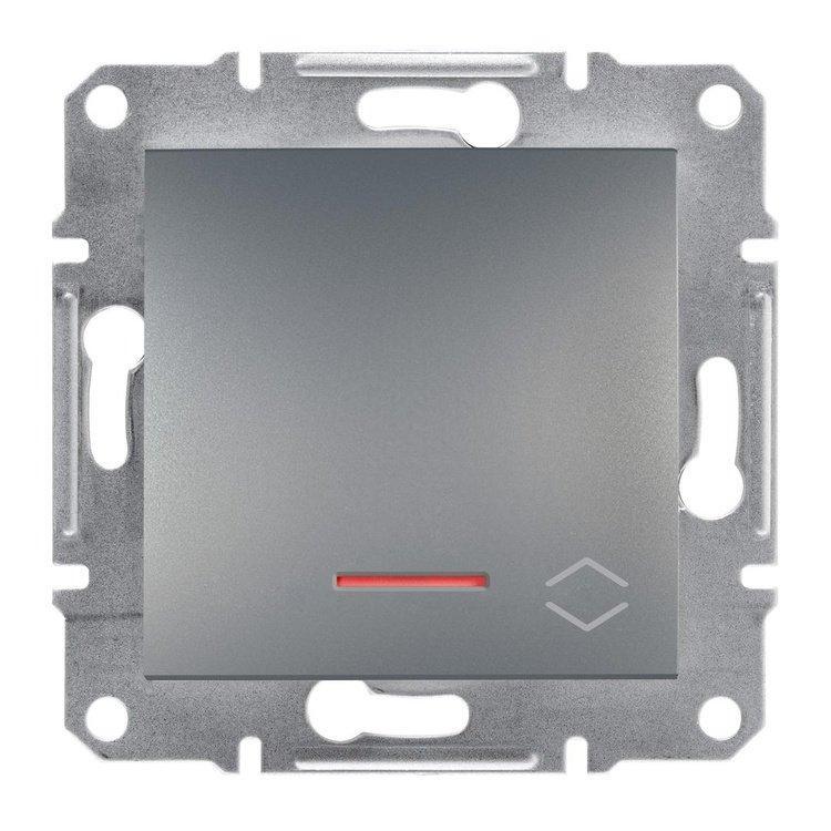 Переключатель Schneider-Electric Asfora Plus 1-клавишный проходной с подсветкой сталь (EPH1500162)