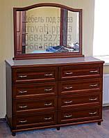 Комод с зеркалом из дерева 4.4 из ясеня с ящиками в прихожую белый детский