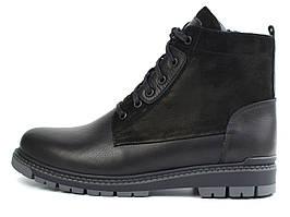 Ботинки демисезонные на флисе кожа черные широкая стопа мужская обувь Rosso Avangard Whisper Flis 2 Modern