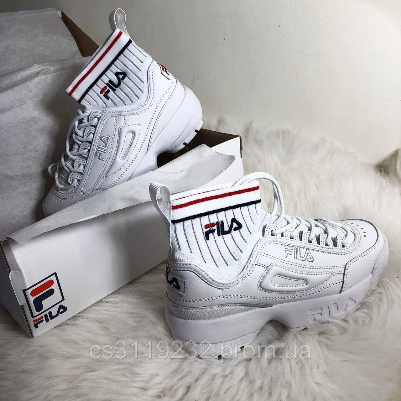 Женские кроссовки Fila Disruptor 2 ECO Sockfit all white (белые)