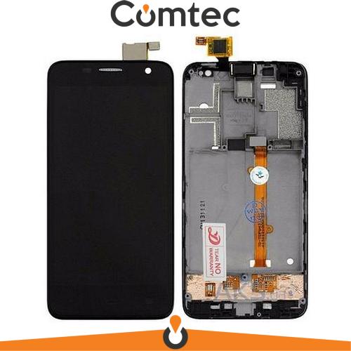 Дисплей для Alcatel 6012 Onetouch Idol Mini/6012A/6012D/6012W/6012X/6012E с тачскрином (Модуль) черный, с передней панелью (рамкой), оригинал
