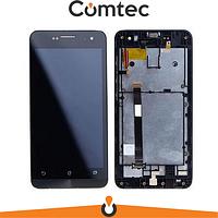 Дисплей для Asus ZenFone 5 (A500CG 2014/A500KL 2014/A501CG 2015) с тачскрином (Модуль) черный, Charcoal Black, с передней панелью (рамкой)