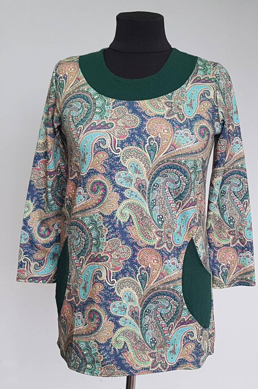 Туника женская с длинными рукавами и боковыми карманами