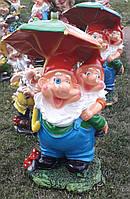 Садовая фигура. Гном под зонтом  (с фонарём)