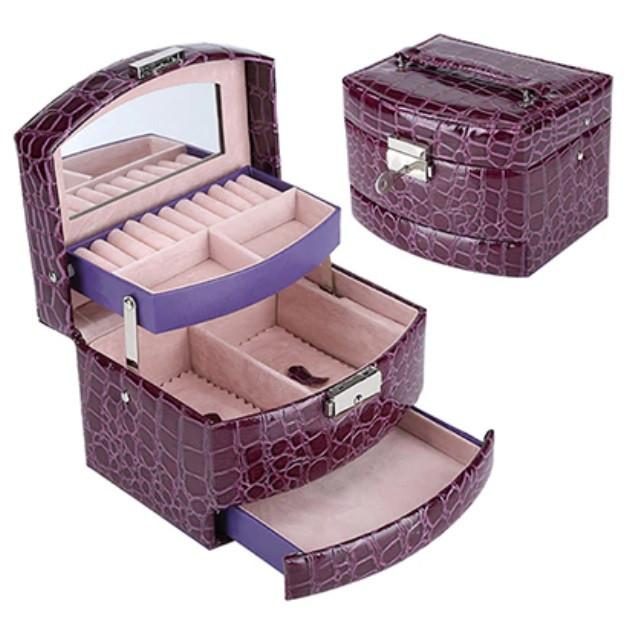 Шкатулка - автомат (трансформер) для прикрас фіолетова (15,5-13-12см)