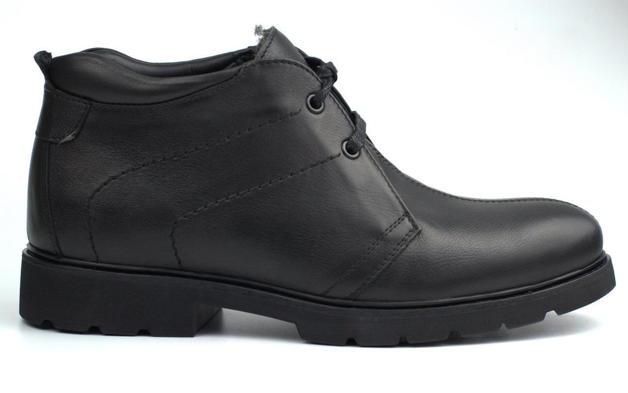 Класичні демісезонні черевики шкіряні чорні дезерты на флісі Rosso Avangard Carlo Pa20