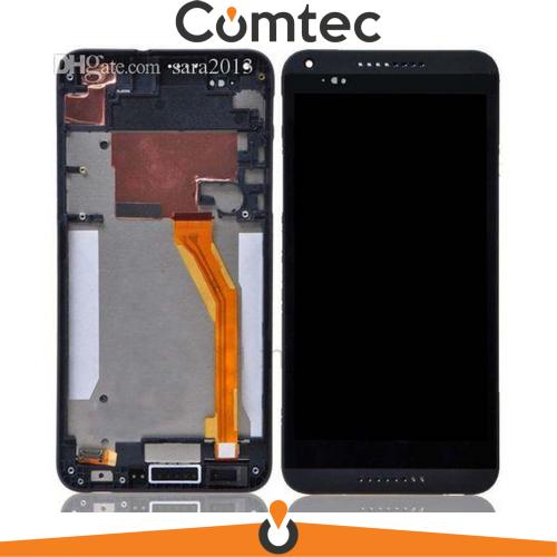 Дисплей для HTC 816 Desire с тачскрином (Модуль) черный, с передней панелью (рамкой), желтый шлейф