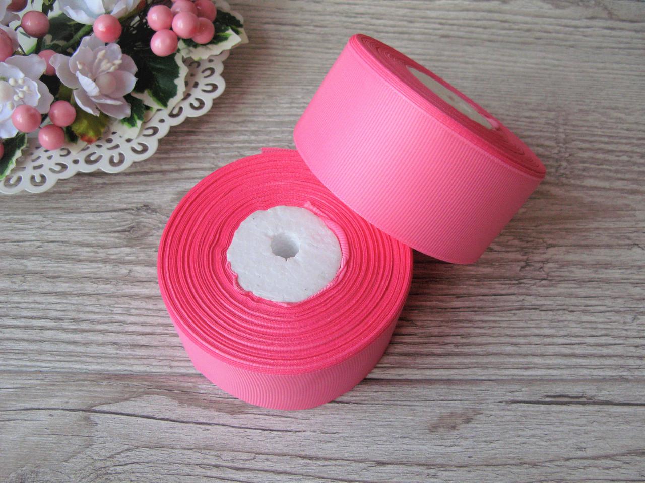 Лента репсовая 4 см ярко розовый, бобина 18 м - 51 грн