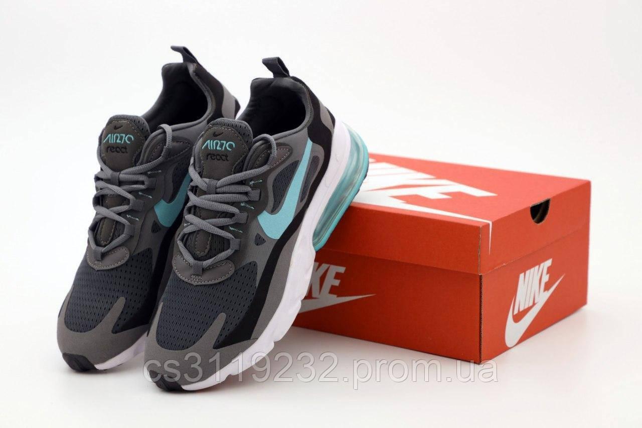 Мужские кроссовки Nike Air Max 270 React (серый/черный/бирюза)