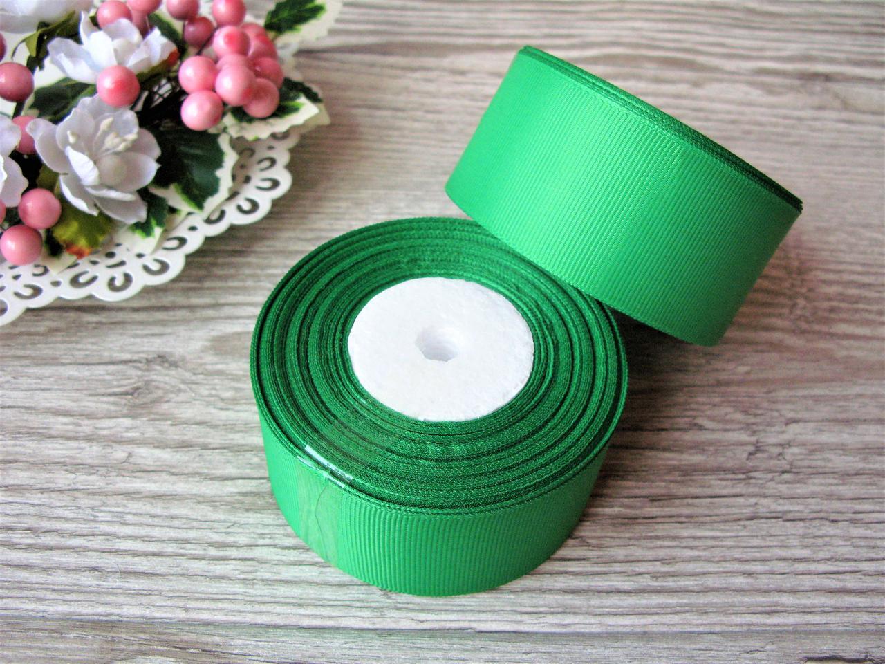 Лента репсовая 4 см ярко зеленый, бобина 18 м - 51 грн