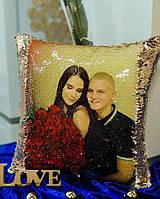 Подушка с фото с пайетками