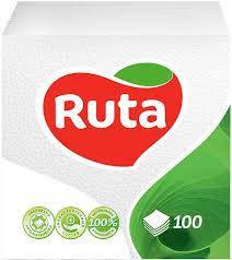 """Серветки""""Ruta"""" 24*24 1-шар 100шт.білі"""