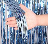 Штора из фольги голубая, 1*2 м